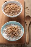 Buckwheat groats with milk Stock Photo