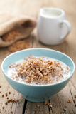 Buckwheat groats with milk Royalty Free Stock Photography