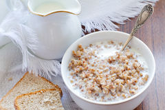 Buckwheat groats with milk Royalty Free Stock Images