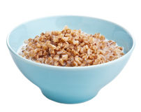 Buckwheat groats with milk isolated Stock Photo