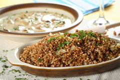 Buckwheat groats with mushrooms. Buckwheat groats with forest mushrooms and cut parsley Stock Image