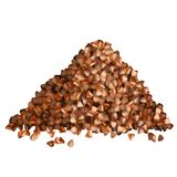 Buckwheat groats pile side view on white background. Vector illustration Stock Images
