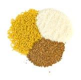 Buckwheat groats and rice, pasta stock photography