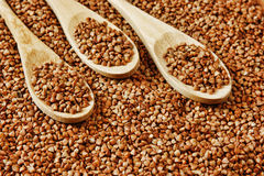 Buckwheat groats and spoon Royalty Free Stock Photo