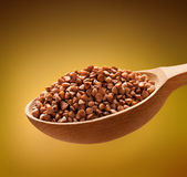Buckwheat groats in a wooden spoon Royalty Free Stock Image