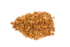 Buckwheat isolated on white. Buckwheat cereal isolated on white Royalty Free Stock Photography