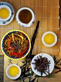Buckwheat Japanese noodles of a sob with vegetables and green tea. Top view stock photo