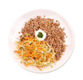 Buckwheat kasha with salad Stock Images