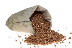 Buckwheat in linen bag Royalty Free Stock Photos