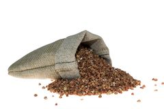 Buckwheat in linen bag Stock Photography
