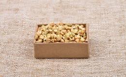 Buckwheat on linen Stock Photo