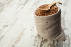 Buckwheat in linen sack. Royalty Free Stock Photography