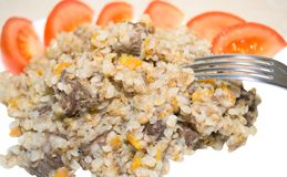 Buckwheat with meat and tomatoes Royalty Free Stock Photography