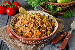 Buckwheat with meat and vegetables Stock Photos