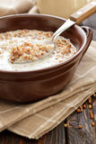 Buckwheat with milk Stock Photo