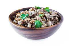 Buckwheat with mushrooms and parsle. Russian traditional buckwheat with mushrooms and parsley Royalty Free Stock Photos
