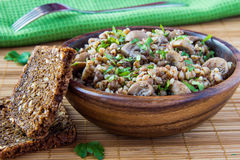 Buckwheat with mushrooms and parsle. Russian traditional buckwheat with mushrooms and parsley Royalty Free Stock Images