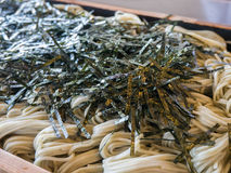 Buckwheat noodle with seaweed. Japanese buckwheat noodle (Soba) with dried seaweed Stock Photo