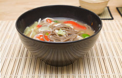Buckwheat Noodle Soup Stock Images