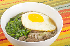 Buckwheat Noodle Soup with Egg and Beef Royalty Free Stock Photography