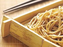 Buckwheat noodles. Close up of a tray of buckwheat noodles Stock Images