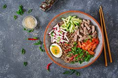 Buckwheat noodles with beef, eggs and vegetables. Korean food. Stock Photos