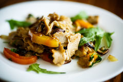 Buckwheat noodles with fried mushrooms and vegetables Royalty Free Stock Photography