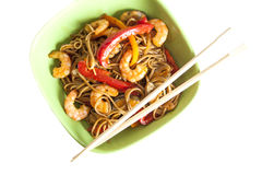 Buckwheat noodles soba with prawns and vegetables Royalty Free Stock Image