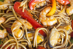 Buckwheat noodles soba with prawns and vegetables Stock Photo