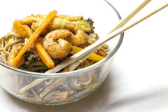 Buckwheat noodles soba with prawns and vegetables Royalty Free Stock Images