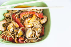 Buckwheat noodles soba with prawns and vegetables Stock Image