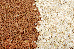 Buckwheat and oatmeal Royalty Free Stock Photography