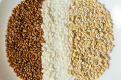 Buckwheat, oatmeal, and rice grains close up Royalty Free Stock Photo
