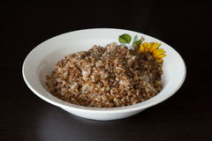 Buckwheat  with onion in the plate Royalty Free Stock Image