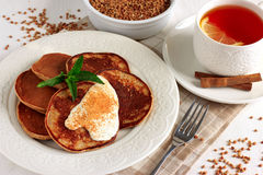 Buckwheat pancakes with banana Royalty Free Stock Photo