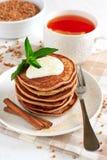 Buckwheat pancakes with banana Royalty Free Stock Images