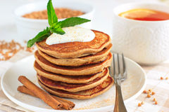 Buckwheat pancakes with banana Stock Photography