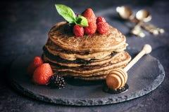 Buckwheat pancakes with fruit Stock Photos