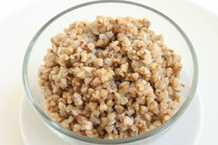 Buckwheat on the plate. Cooked buckwheat on the plate Stock Photo