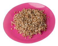 Buckwheat in a plate isolated on white background. buckwheat top view. Healthy food. Buckwheat in a pink  plate isolated on white background. buckwheat top side royalty free stock images