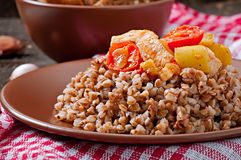 Buckwheat porridge with chicken and vegetables Royalty Free Stock Images
