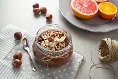 Buckwheat porridge with cocoa, hazelnuts and banana Royalty Free Stock Photography