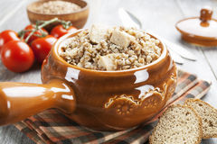 Buckwheat porridge with meat Stock Photo