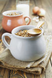 Buckwheat porridge, milk and eggs Royalty Free Stock Photography