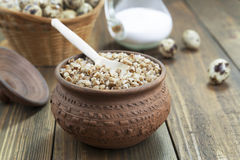 Buckwheat porridge, milk and quail eggs Royalty Free Stock Images