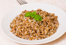 Buckwheat porridge with minced meat Royalty Free Stock Image