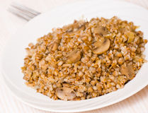Buckwheat porridge with mushrooms Royalty Free Stock Image