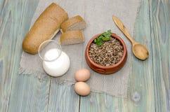 Buckwheat porridge on the table Royalty Free Stock Photo