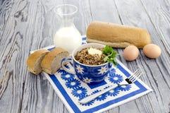 Buckwheat porridge on the table Royalty Free Stock Photos