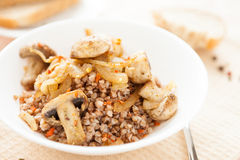 Buckwheat porridge with vegetables in white bowl Royalty Free Stock Images